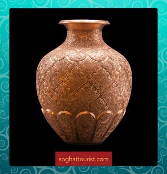 گلدان مس اثر استاد خوسفیان