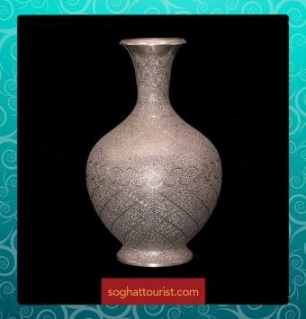 گلدان مسی نقره ای اثر استاد خوسفیان
