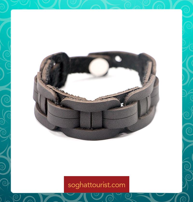 دستبند بافت چرم شتری