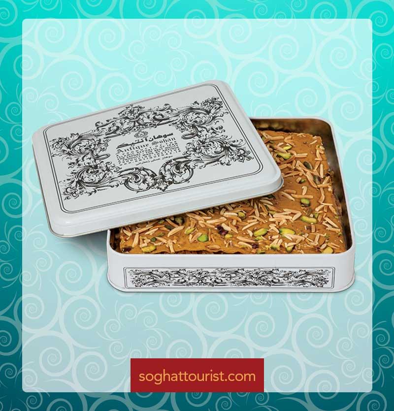 سوهان عسلی تخت آنتیک جعبه فلزی