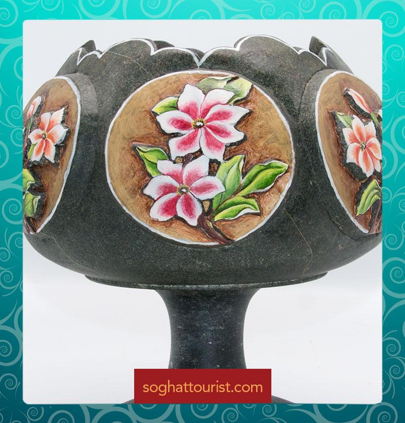 شکلات خوری سنگی طرح گل برجسته